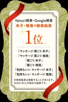 Yahoo!検索・Google検索 米子・境港で検索結果 1位 「マッサージ 肩こり 米子」「マッサージ 肩こり 境港」「肩こり 米子」「肩こり 境港」「気持ちいい マッサージ 米子」「気持ちいい マッサージ 境港」※検索結果は変動することがあります。※2011年11月現在の結果です。